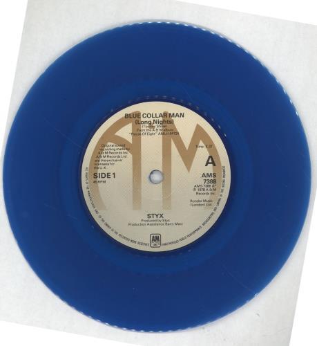styx blue collar man long nights blue vinyl uk 7 vinyl single