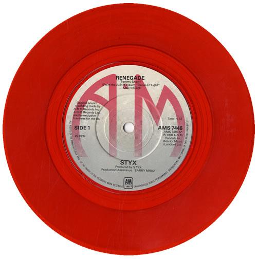 styx renegade red vinyl uk 7 vinyl single 7 inch record 563967
