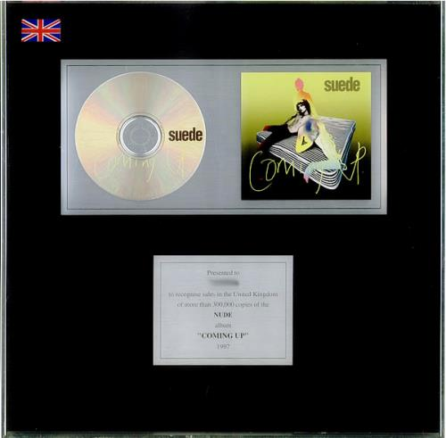 Suede Coming Up in-house award disc UK SUEAICO192050