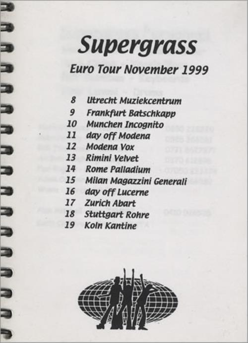Supergrass Euro Tour November 1999 - Tour Itinerary Itinerary UK SGSITEU403936