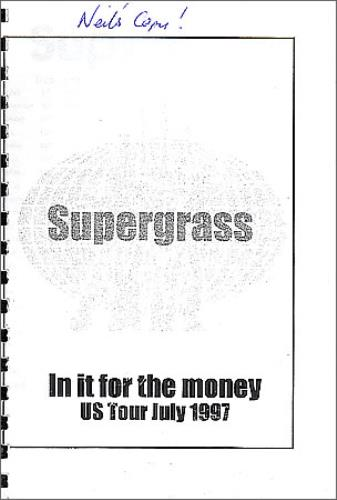 Supergrass In It For The Money - Tour Itinerary Itinerary US SGSITIN368895