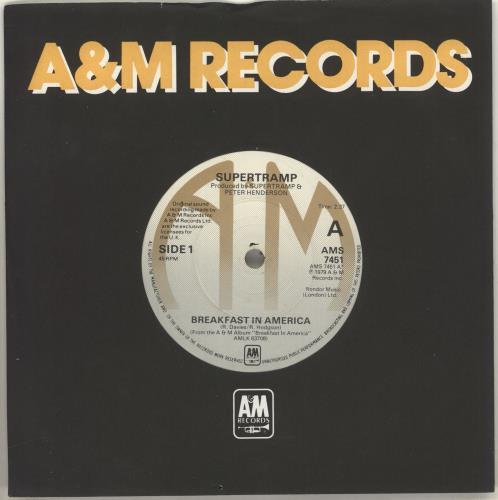 "Supertramp Breakfast In America - Solid 7"" vinyl single (7 inch record) UK SPT07BR618053"
