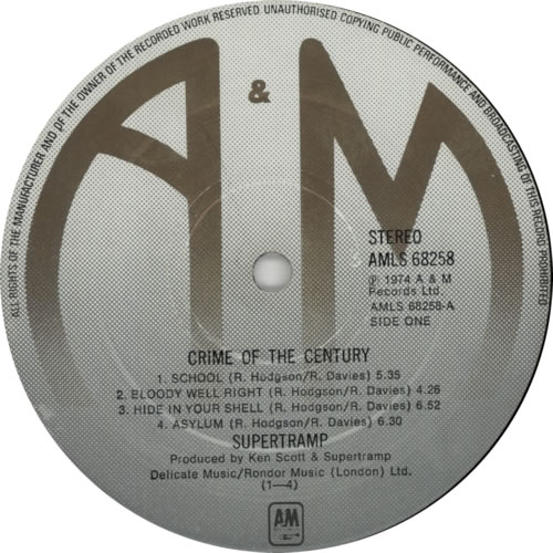 Supertramp Crime Of The Century - 1st + Insert vinyl LP album (LP record) UK SPTLPCR231586