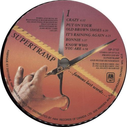 Supertramp Famous Last Words vinyl LP album (LP record) Canadian SPTLPFA707672
