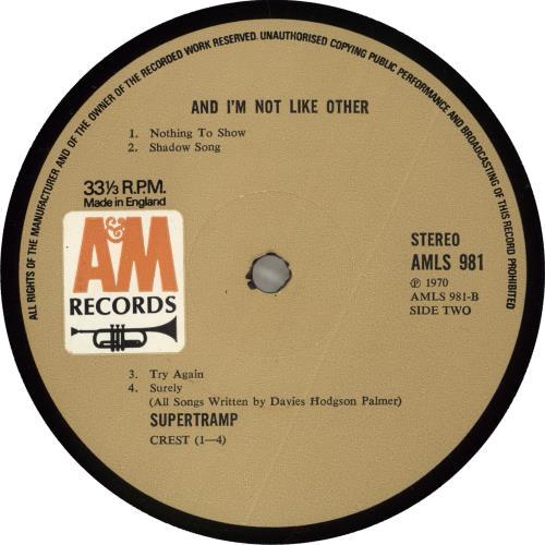 Supertramp Supertramp - 1st - Alternate Titled vinyl LP album (LP record) UK SPTLPSU713720