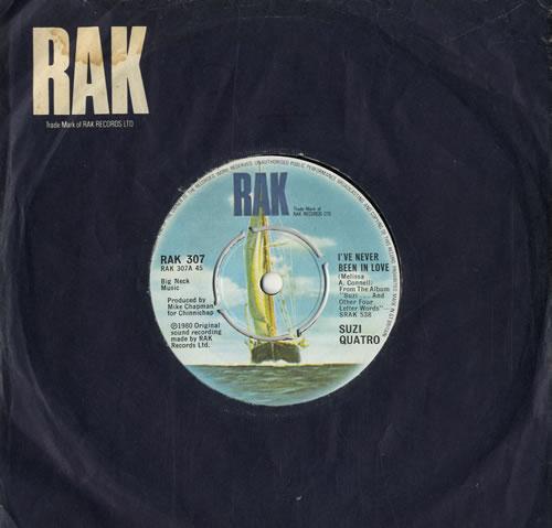 "Suzi Quatro I've Never Been In Love 7"" vinyl single (7 inch record) UK SUZ07IV558701"