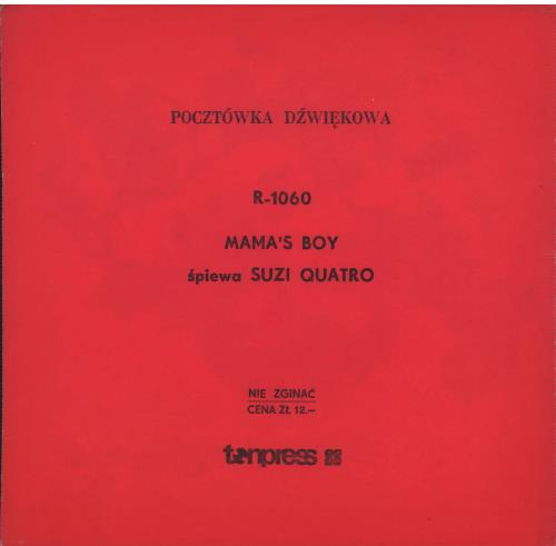 "Suzi Quatro Mama's Boy 7"" vinyl single (7 inch record) Polish SUZ07MA644015"
