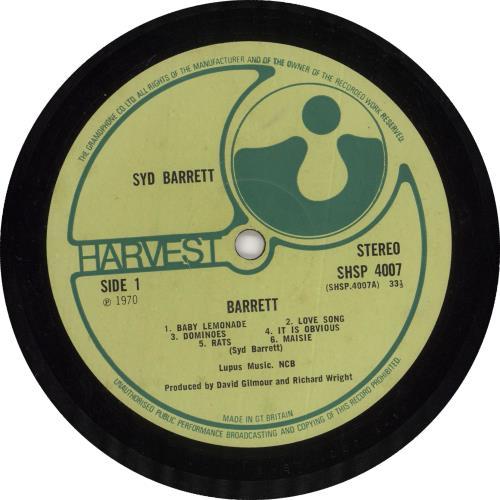 Syd Barrett Barrett - 1st - Textured Sleeve vinyl LP album (LP record) UK SYDLPBA731417