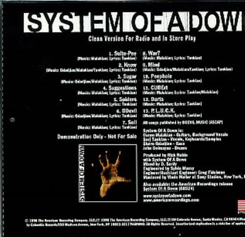 System Of A Down System Of A Down Us Promo Cd Album Cdlp