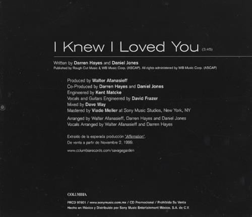Savage garden i knew i loved you mexican promo cd single cd5 5 147827 I want you savage garden lyrics