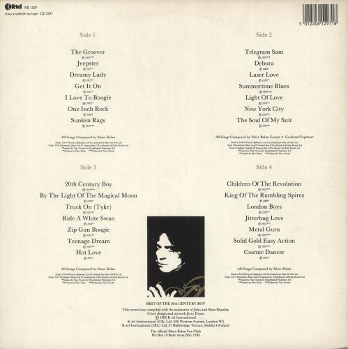 T-Rex / Tyrannosaurus Rex Best Of The 20th Century Boy - EX 2-LP vinyl record set (Double Album) UK REX2LBE721987