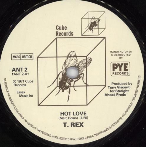 "T-Rex / Tyrannosaurus Rex Hot Love 7"" vinyl single (7 inch record) UK REX07HO718246"