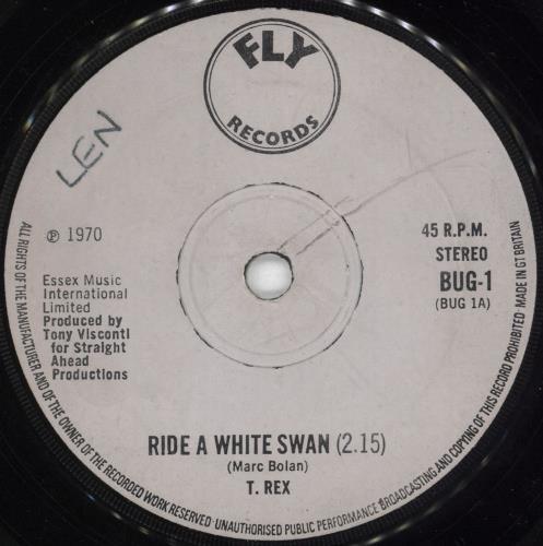 "T-Rex / Tyrannosaurus Rex Ride A White Swan - 1st - Solid - EX 7"" vinyl single (7 inch record) UK REX07RI737028"