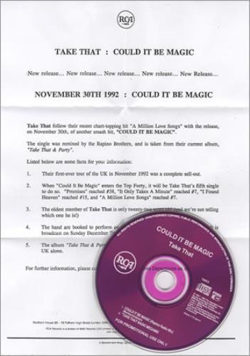 """Take That Could It Be Magic CD single (CD5 / 5"""") UK TAKC5CO15424"""
