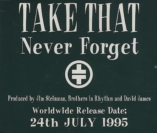 "Take That Never Forget CD single (CD5 / 5"") UK TAKC5NE49600"