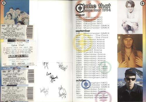 Take That Pops Tour 1994 + Stubs tour programme UK TAKTRPO711097