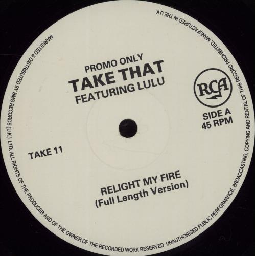 "Take That Relight My Fire - The Joey Negro Mixes 12"" vinyl single (12 inch record / Maxi-single) UK TAK12RE22348"