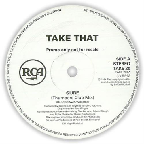 "Take That Sure (Thumpers Club Mix) 12"" vinyl single (12 inch record / Maxi-single) UK TAK12SU34190"