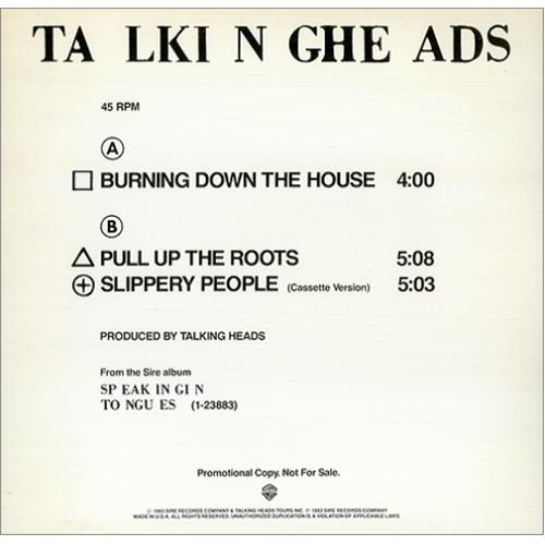 talking heads burning down the house us promo 12 vinyl single 12