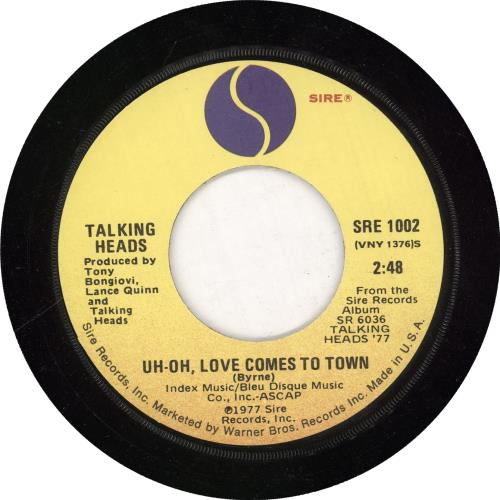 "Talking Heads Uh-Oh Love Comes To Town + Sleeve 7"" vinyl single (7 inch record) US TAL07UH193343"