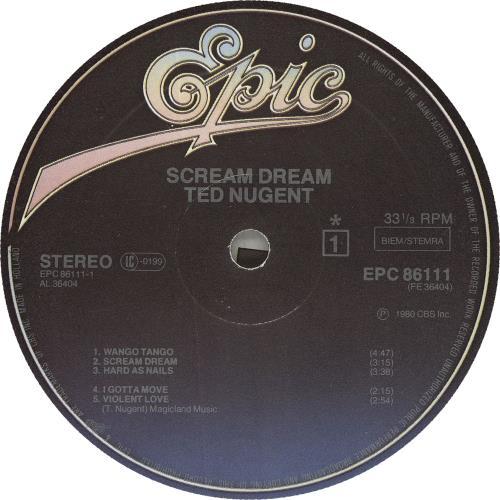 Ted Nugent Scream Dream vinyl LP album (LP record) Dutch TEDLPSC744288