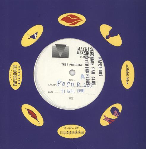 "Teenage Fanclub Everything Flows - Test Pressing 7"" vinyl single (7 inch record) UK TFC07EV746997"