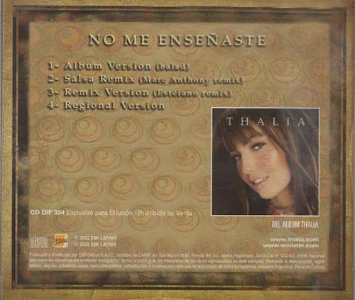 "Thalia No Me Ensenaste CD single (CD5 / 5"") Argentinean T-IC5NO248662"