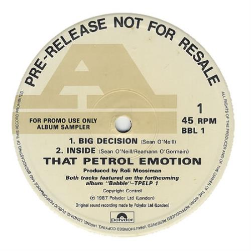 "That Petrol Emotion Big Decision 12"" vinyl single (12 inch record / Maxi-single) UK TPE12BI194292"