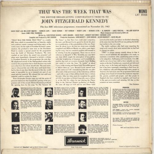 That Was The Week That Was John Fitzgerald Kennedy - EX vinyl LP album (LP record) UK WEWLPJO711826