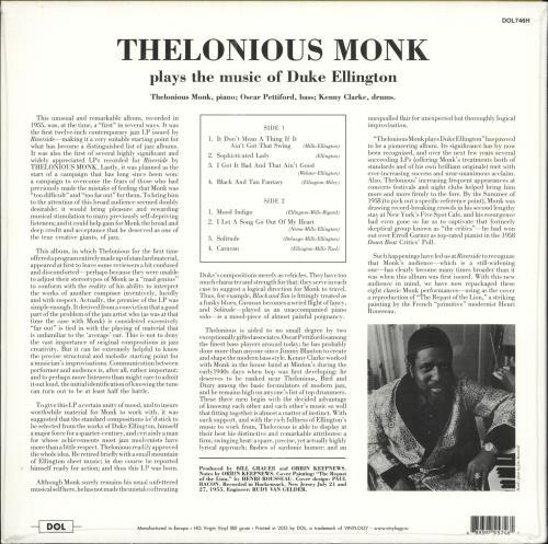 Thelonious Monk Thelonious Monk Plays Duke Ellington - 180gm Vinyl - Sealed vinyl LP album (LP record) Russian TM4LPTH729629