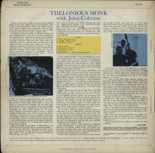 Thelonious Monk Thelonious Monk With John Coltrane vinyl LP album (LP record) French TM4LPTH651264