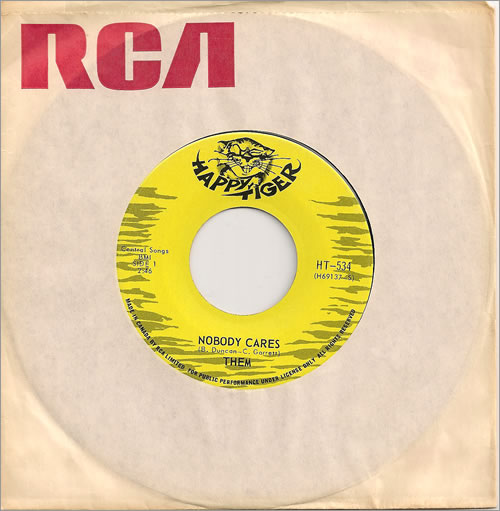 """Them Nobody Cares 7"""" vinyl single (7 inch record) Canadian T-M07NO485600"""
