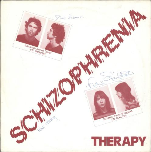 Therapy Schizophrenia - Autographed vinyl LP album (LP record) UK X06LPSC708817