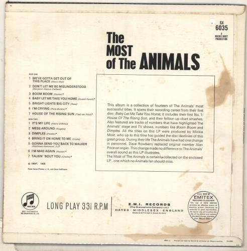 The Animals The Most Of The Animals 1st Vg Uk Vinyl Lp
