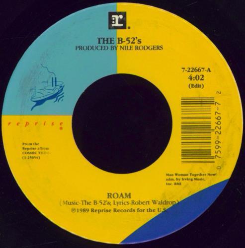 "The B-52's Roam - wide-centre 7"" vinyl single (7 inch record) US B5207RO770169"