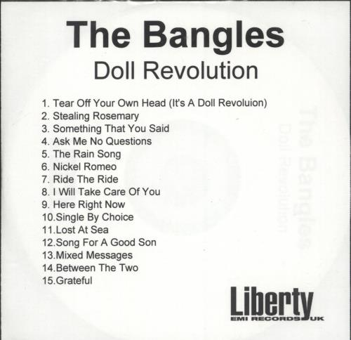 The Bangles Doll Revolution CD-R acetate UK BGLCRDO698860