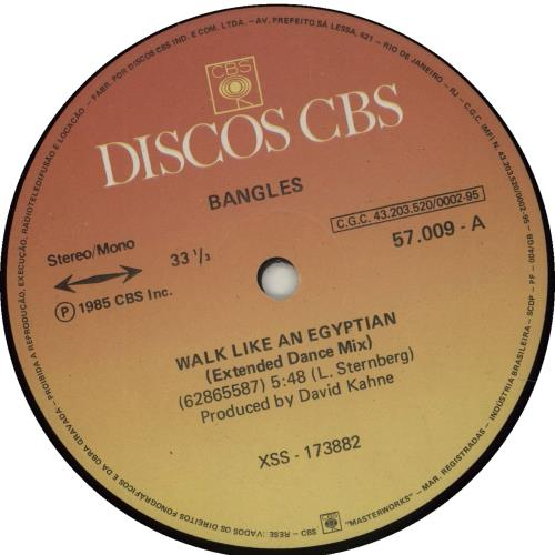 "The Bangles Walk Like An Egyptian 12"" vinyl single (12 inch record / Maxi-single) Brazilian BGL12WA676102"