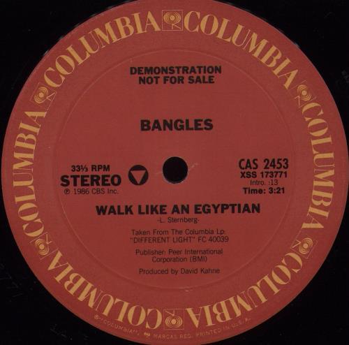 "The Bangles Walking Like An Egyptian 12"" vinyl single (12 inch record / Maxi-single) US BGL12WA676424"
