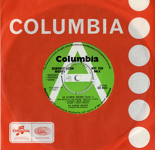 """The Barron Knights An Olympic Record - A Label 7"""" vinyl single (7 inch record) UK KN807AN588681"""