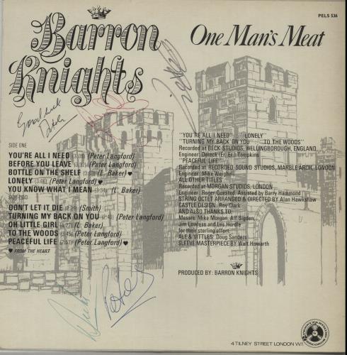The Barron Knights One Man's Meat - Fully Autographed vinyl LP album (LP record) UK KN8LPON648266