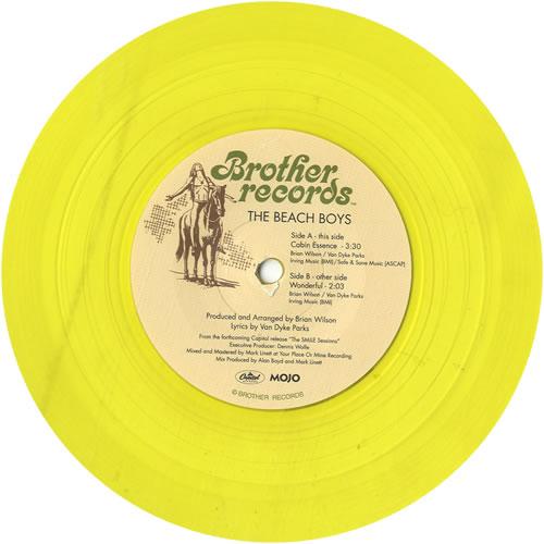 "The Beach Boys Cabin Essence - Yellow Vinyl 7"" vinyl single (7 inch record) UK BBO07CA615860"