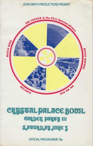 The Beach Boys Crystal Palace Bowl Garden Party III + Ticket Stub tour programme UK BBOTRCR747993