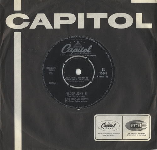"The Beach Boys Sloop John B 7"" vinyl single (7 inch record) UK BBO07SL473563"