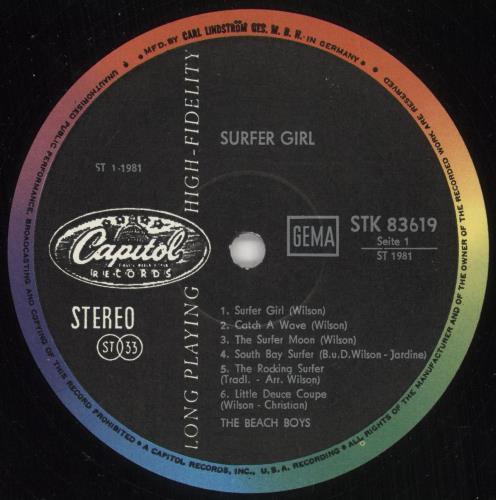 The Beach Boys Surfer Girl vinyl LP album (LP record) German BBOLPSU704569