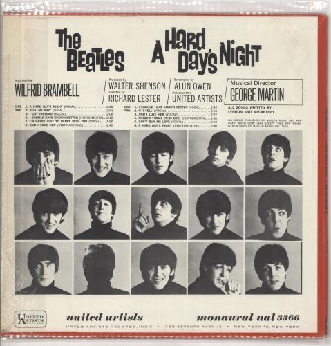 The Beatles A Hard Day's Night - 1st - stickered shrink vinyl LP album (LP record) US BTLLPAH297820