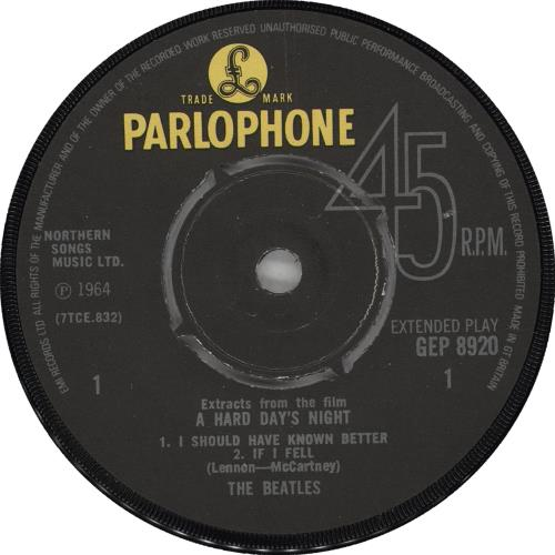 "The Beatles A Hard Day's Night No. 1 EP - EMI - EX 7"" vinyl single (7 inch record) UK BTL07AH697455"