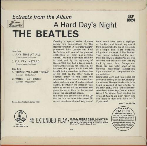 "The Beatles A Hard Day's Night No. 2 EP - 1st - EJD Sleeve 7"" vinyl single (7 inch record) UK BTL07AH592547"