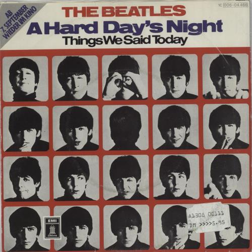 "The Beatles A Hard Day's Night 7"" vinyl single (7 inch record) German BTL07AH675191"