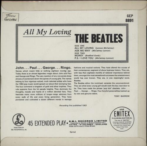 "The Beatles All My Loving EP - 2nd 7"" vinyl single (7 inch record) UK BTL07AL764030"