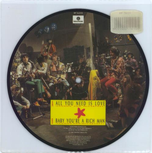 """The Beatles All You Need Is Love - Barcode Stickered 7"""" vinyl picture disc 7 inch picture disc single UK BTL7PAL770593"""